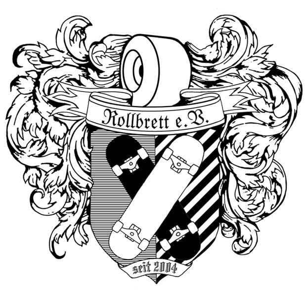Wappen mit Skateboard - das Logo des Rollbrett e.V. Karlsruhe